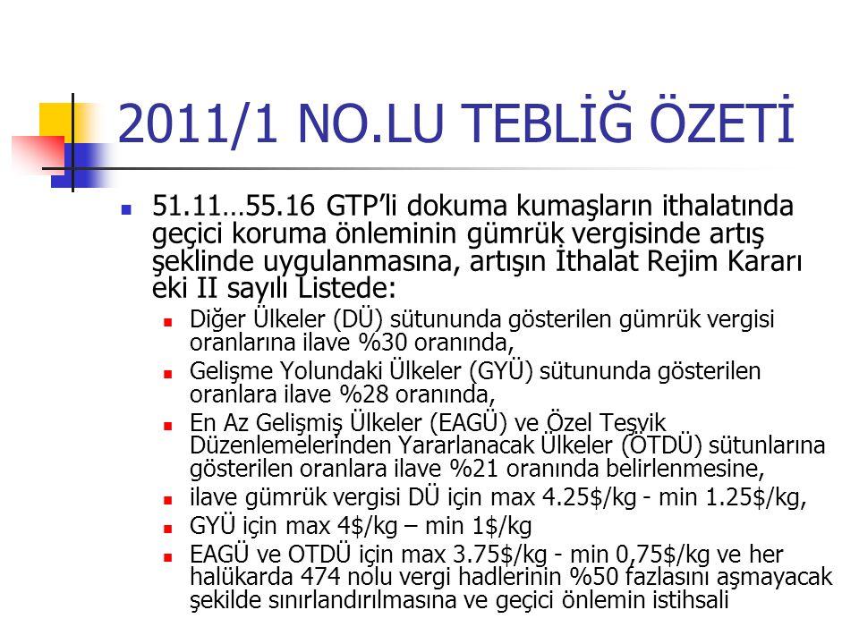 2011/1 NO.LU TEBLİĞ ÖZETİ 51.11…55.16 GTP'li dokuma kumaşların ithalatında geçici koruma önleminin gümrük vergisinde artış şeklinde uygulanmasına, art