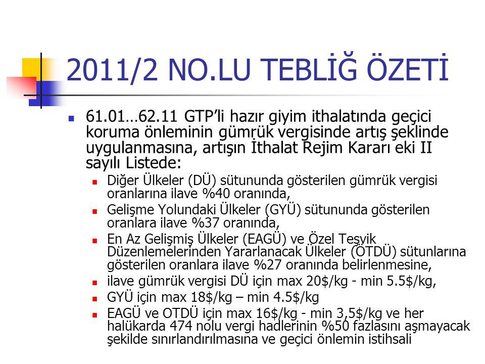 2011/2 NO.LU TEBLİĞ ÖZETİ 61.01…62.11 GTP'li hazır giyim ithalatında geçici koruma önleminin gümrük vergisinde artış şeklinde uygulanmasına, artışın İ