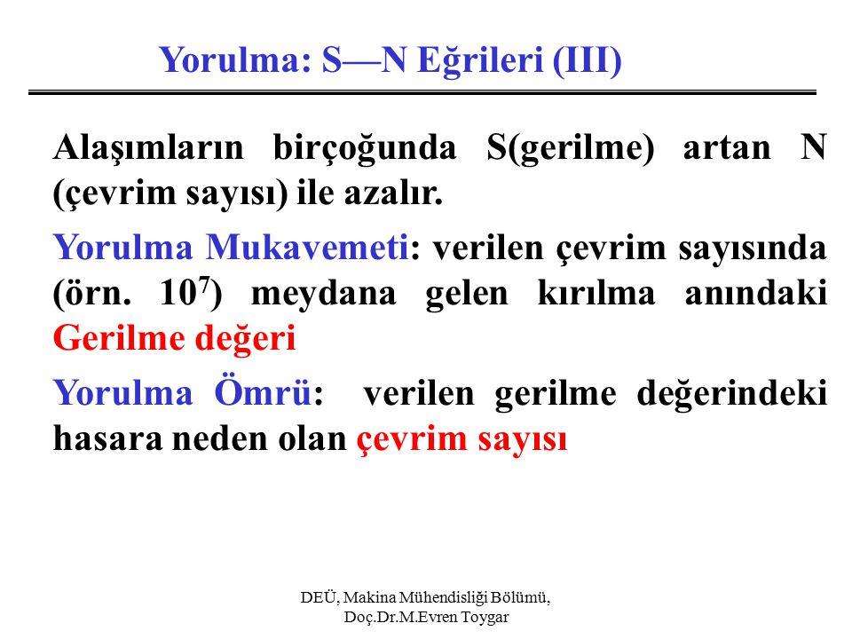 DEÜ, Makina Mühendisliği Bölümü, Doç.Dr.M.Evren Toygar Yorulma: S—N Eğrileri (III) Alaşımların birçoğunda S(gerilme) artan N (çevrim sayısı) ile azalır.