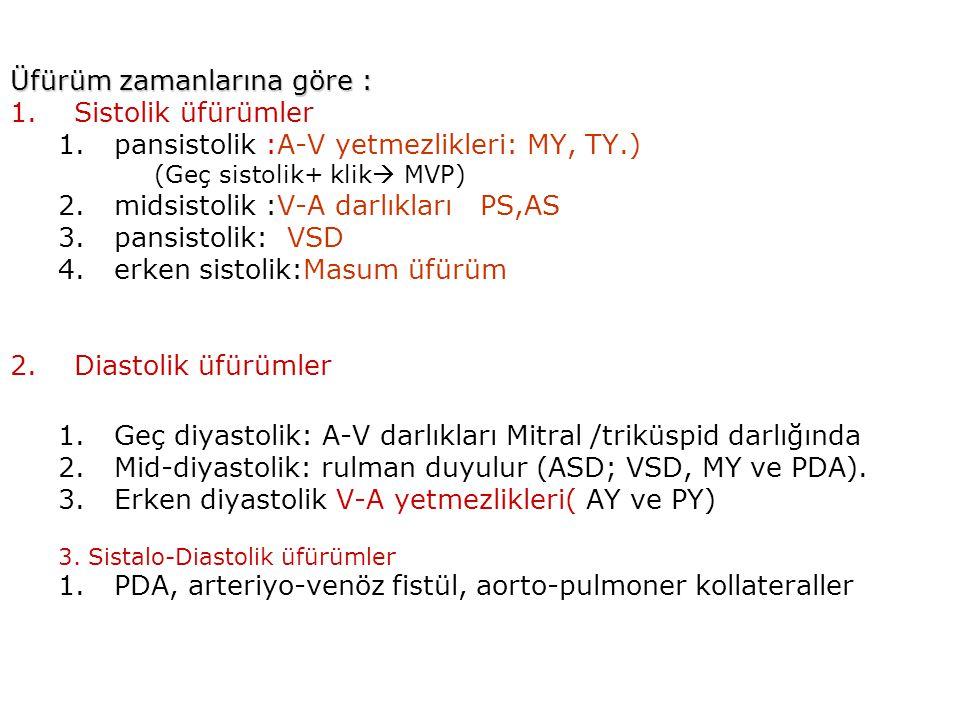 Üfürüm zamanlarına göre : Üfürüm zamanlarına göre : 1.Sistolik üfürümler 1.pansistolik :A-V yetmezlikleri: MY, TY.) (Geç sistolik+ klik  MVP) 2.midsistolik :V-A darlıkları PS,AS 3.pansistolik: VSD 4.erken sistolik:Masum üfürüm 2.Diastolik üfürümler 1.Geç diyastolik: A-V darlıkları Mitral /triküspid darlığında 2.Mid-diyastolik: rulman duyulur (ASD; VSD, MY ve PDA).