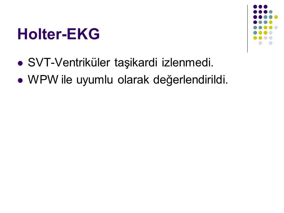 Holter-EKG SVT-Ventriküler taşikardi izlenmedi. WPW ile uyumlu olarak değerlendirildi.