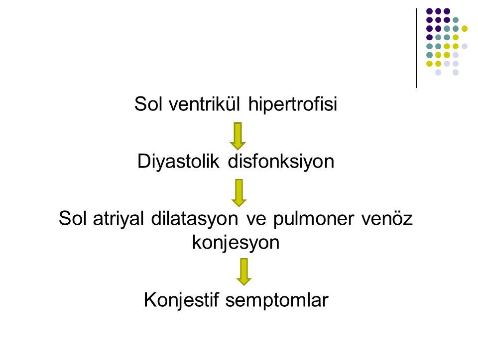 Sol ventrikül hipertrofisi Diyastolik disfonksiyon Sol atriyal dilatasyon ve pulmoner venöz konjesyon Konjestif semptomlar