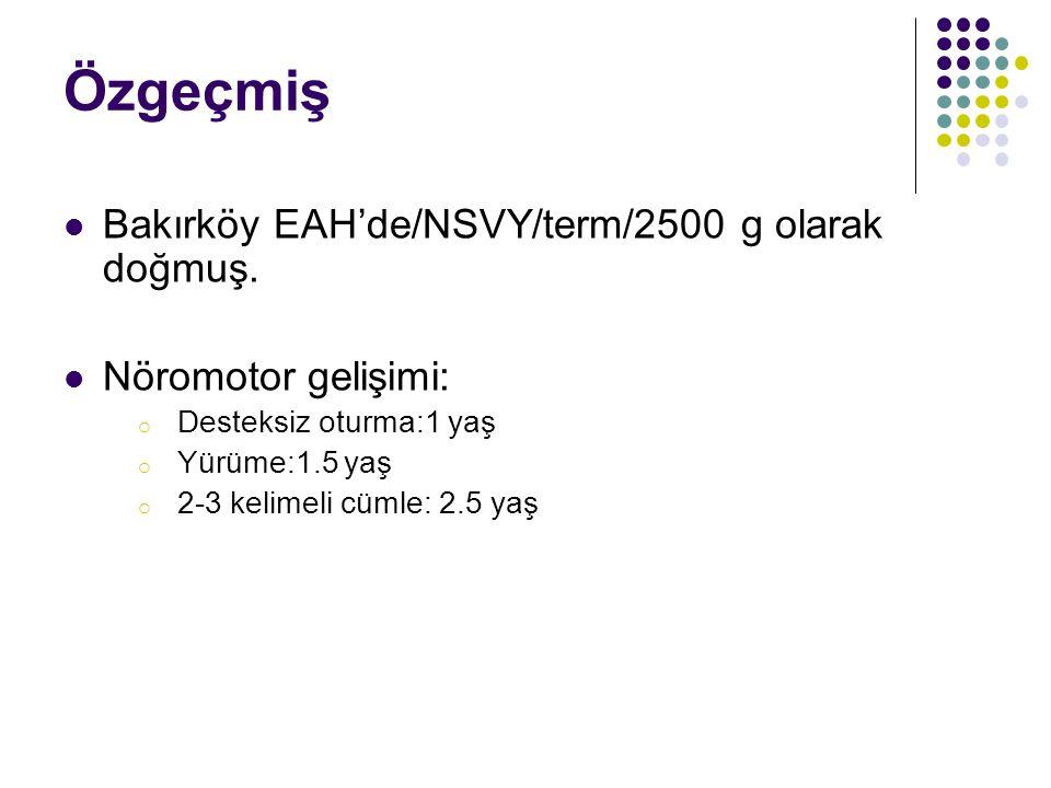 Özgeçmiş Bakırköy EAH'de/NSVY/term/2500 g olarak doğmuş.