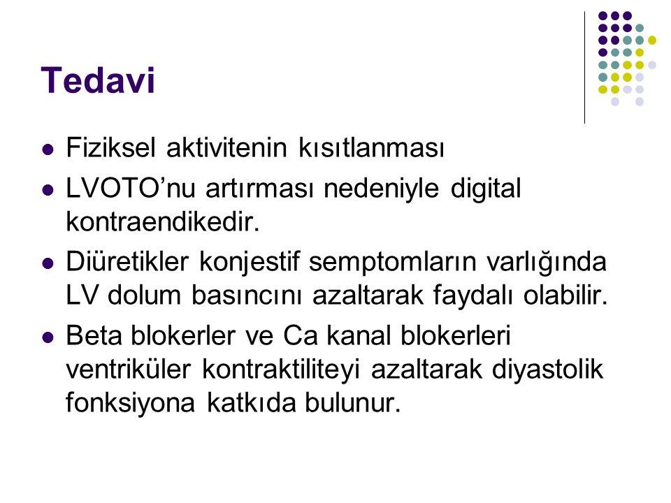 Tedavi Fiziksel aktivitenin kısıtlanması LVOTO'nu artırması nedeniyle digital kontraendikedir.