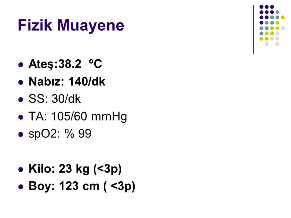 Fizik Muayene Ateş:38.2 ºC Nabız: 140/dk SS: 30/dk TA: 105/60 mmHg spO2: % 99 Kilo: 23 kg (<3p) Boy: 123 cm ( <3p)