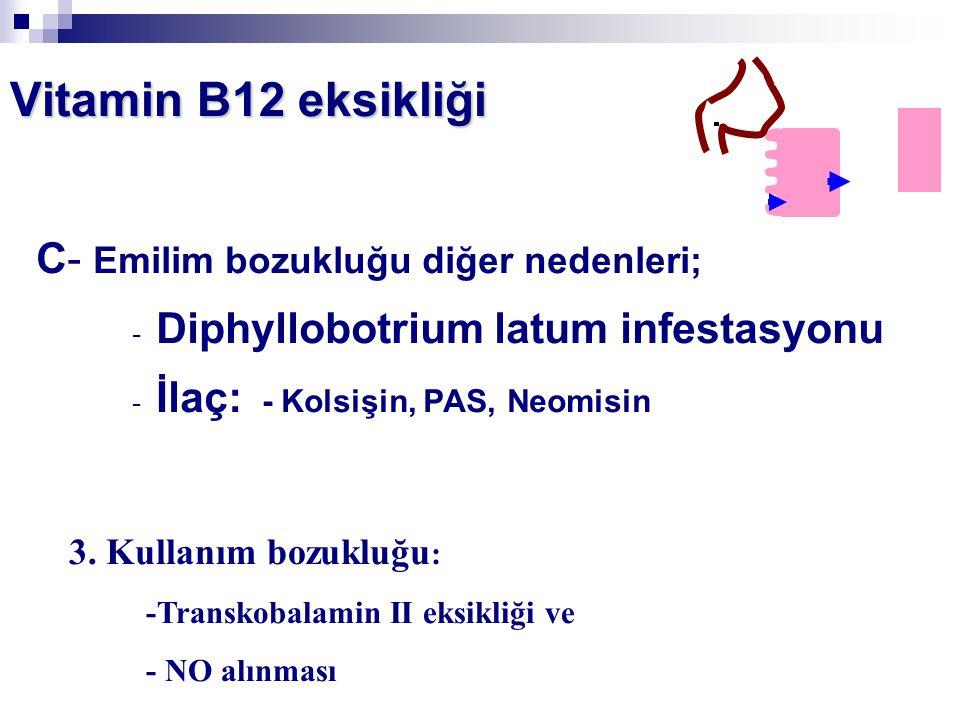 C- Emilim bozukluğu diğer nedenleri; - Diphyllobotrium latum infestasyonu - İlaç: - Kolsişin, PAS, Neomisin Vitamin B12 eksikliği 3. Kullanım bozukluğ