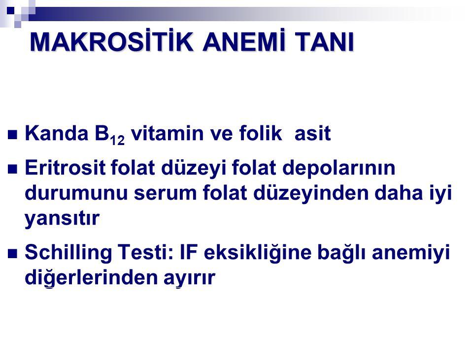 Kanda B 12 vitamin ve folik asit Eritrosit folat düzeyi folat depolarının durumunu serum folat düzeyinden daha iyi yansıtır Schilling Testi: IF eksikl