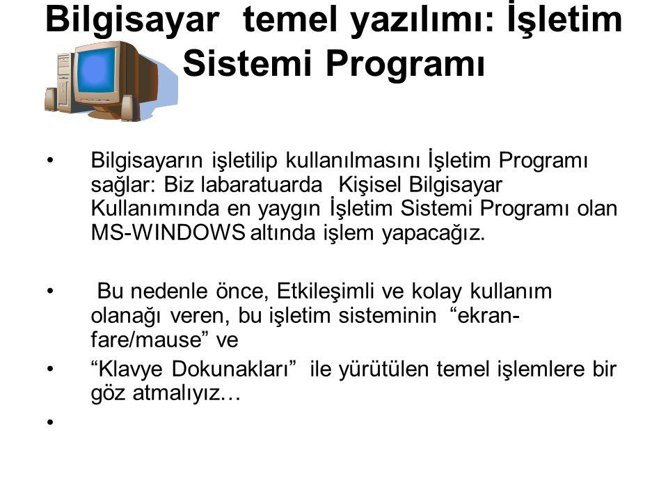 Bilgisayar temel yazılımı: İşletim Sistemi Programı Bilgisayarın işletilip kullanılmasını İşletim Programı sağlar: Biz labaratuarda Kişisel Bilgisayar Kullanımında en yaygın İşletim Sistemi Programı olan MS-WINDOWS altında işlem yapacağız.