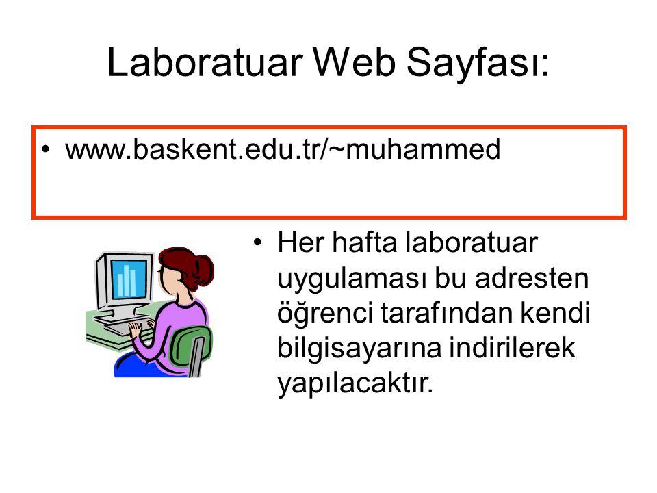 Laboratuar Web Sayfası: www.baskent.edu.tr/~muhammed Her hafta laboratuar uygulaması bu adresten öğrenci tarafından kendi bilgisayarına indirilerek yapılacaktır.