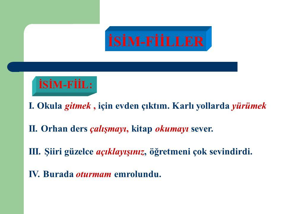 ALIŞTIRMA:Zonguldak'tan kalkan otobüs hesapsız virajlar aşarak hemen dağlara tırmanmağa başlıyor. (Refik Halit Karay) a)Bu cümlede fiil soyundan kaç s