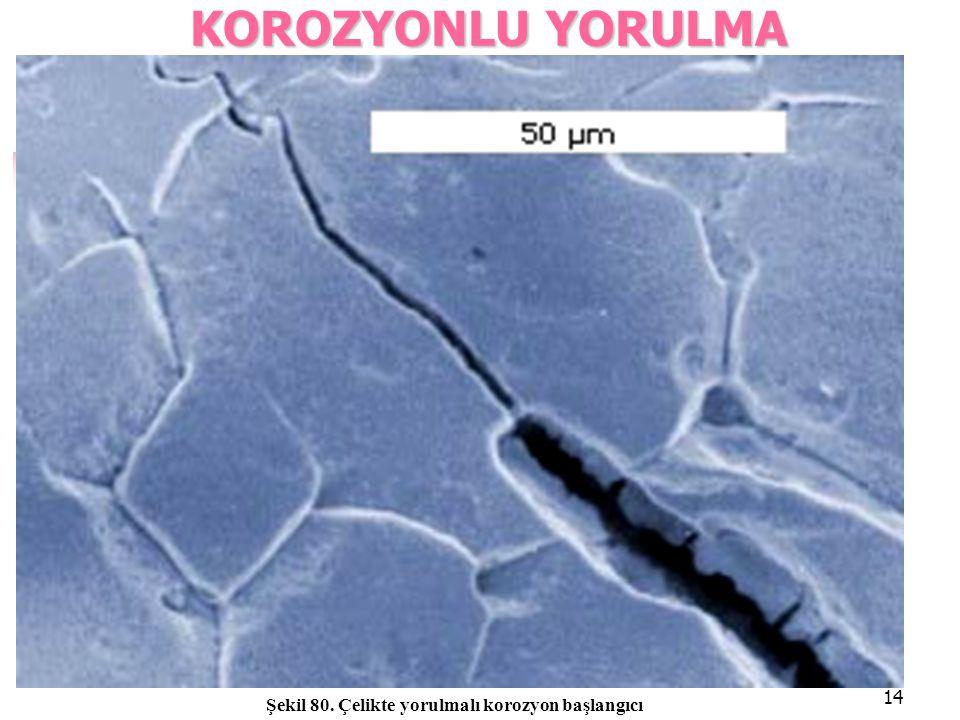 14 KOROZYONLUYORULMA KOROZYONLU YORULMA Şekil 80. Çelikte yorulmalı korozyon başlangıcı