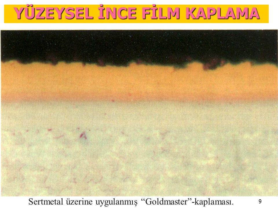 """9 Sertmetal üzerine uygulanmış """"Goldmaster""""-kaplaması. YÜZEYSEL İNCE FİLM KAPLAMA"""