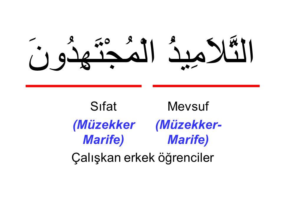 التَّلاَمِيذُ الْمُجْتَهِدُونَ Çalışkan erkek öğrenciler Mevsuf (Müzekker- Marife) Sıfat (Müzekker Marife)
