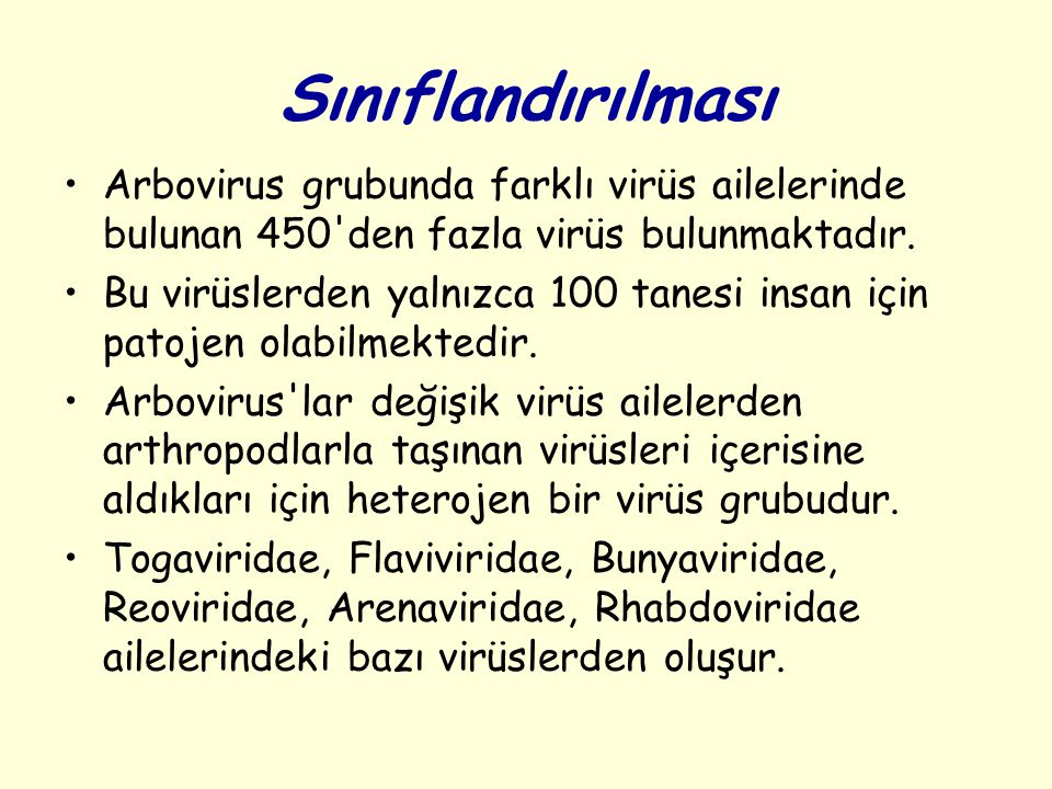 Sınıflandırılması Arbovirus grubunda farklı virüs ailelerinde bulunan 450'den fazla virüs bulunmaktadır. Bu virüslerden yalnızca 100 tanesi insan için