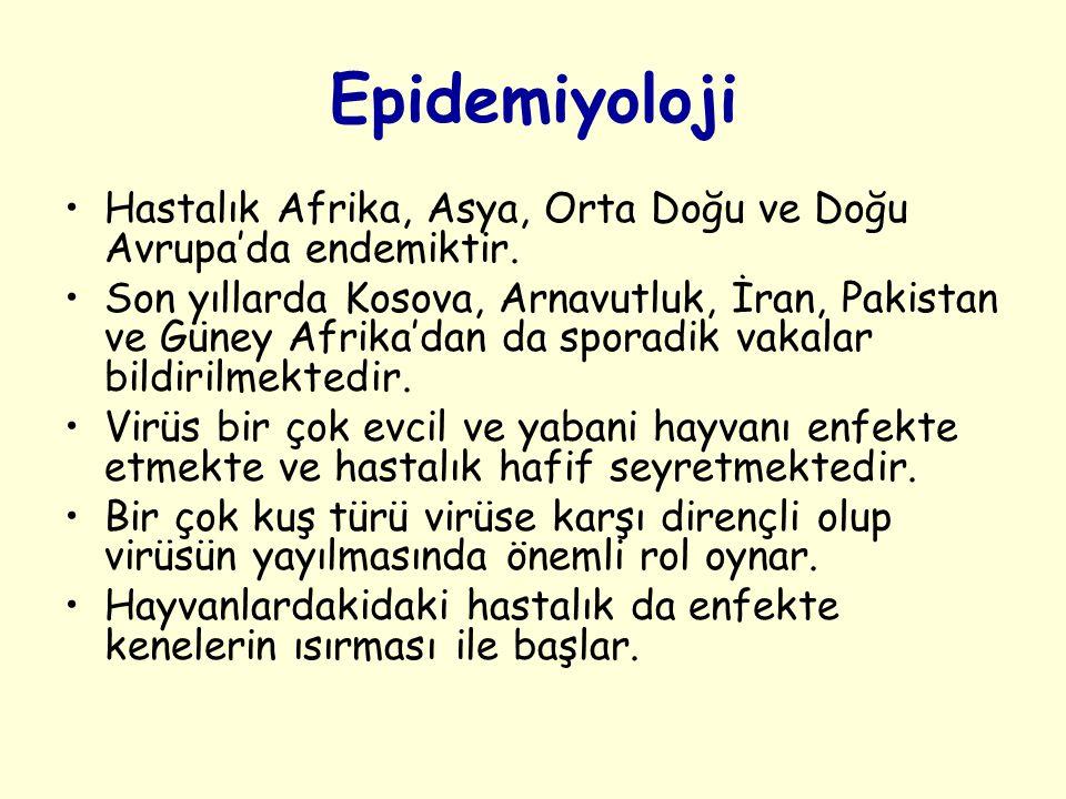 Epidemiyoloji Hastalık Afrika, Asya, Orta Doğu ve Doğu Avrupa'da endemiktir. Son yıllarda Kosova, Arnavutluk, İran, Pakistan ve Güney Afrika'dan da sp