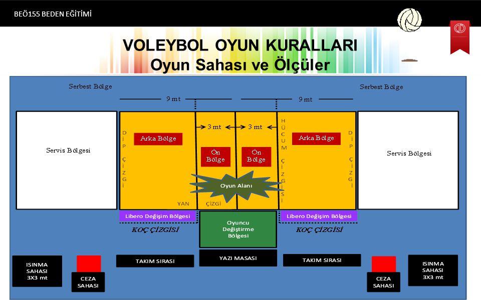 VOLEYBOL OYUN KURALLARI Oyun Sahası ve Ölçüler BEÖ155 BEDEN EĞİTİMİ