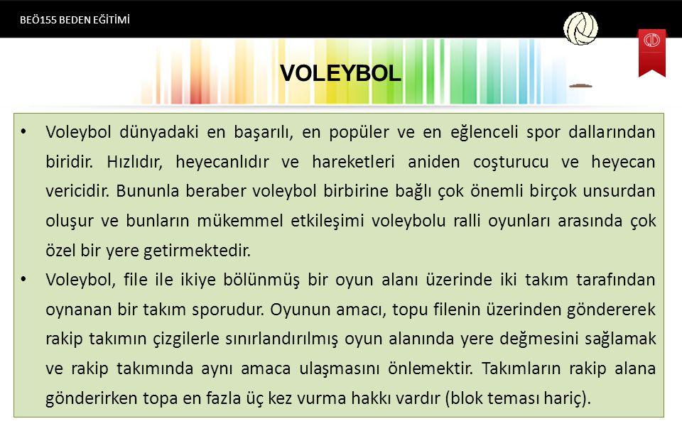 VOLEYBOL Voleybol dünyadaki en başarılı, en popüler ve en eğlenceli spor dallarından biridir.