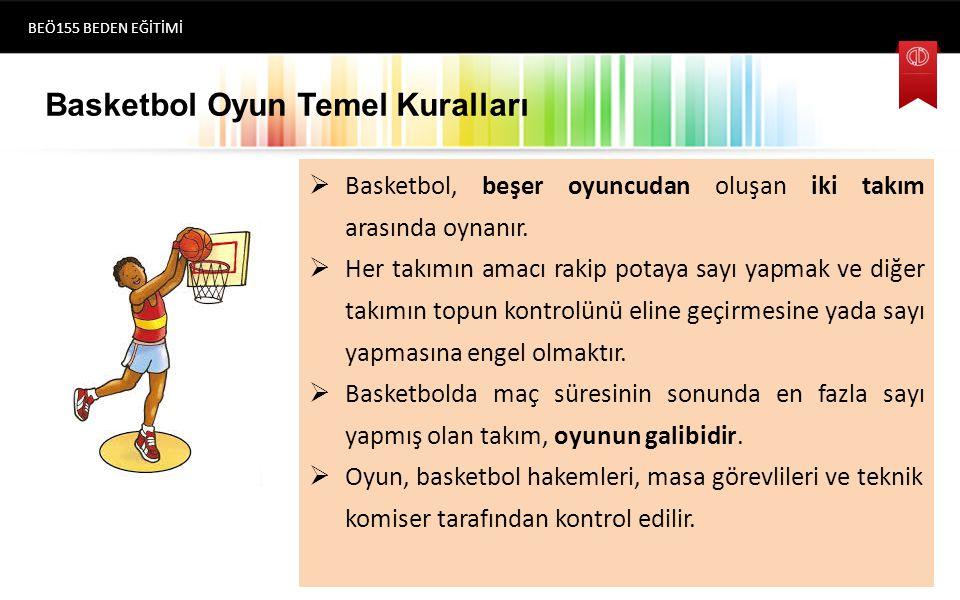 Basketbol Oyun Temel Kuralları  Basketbol, beşer oyuncudan oluşan iki takım arasında oynanır.