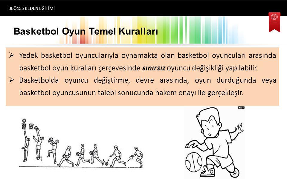 Basketbol Oyun Temel Kuralları  Yedek basketbol oyuncularıyla oynamakta olan basketbol oyuncuları arasında basketbol oyun kuralları çerçevesinde sınırsız oyuncu değişikliği yapılabilir.