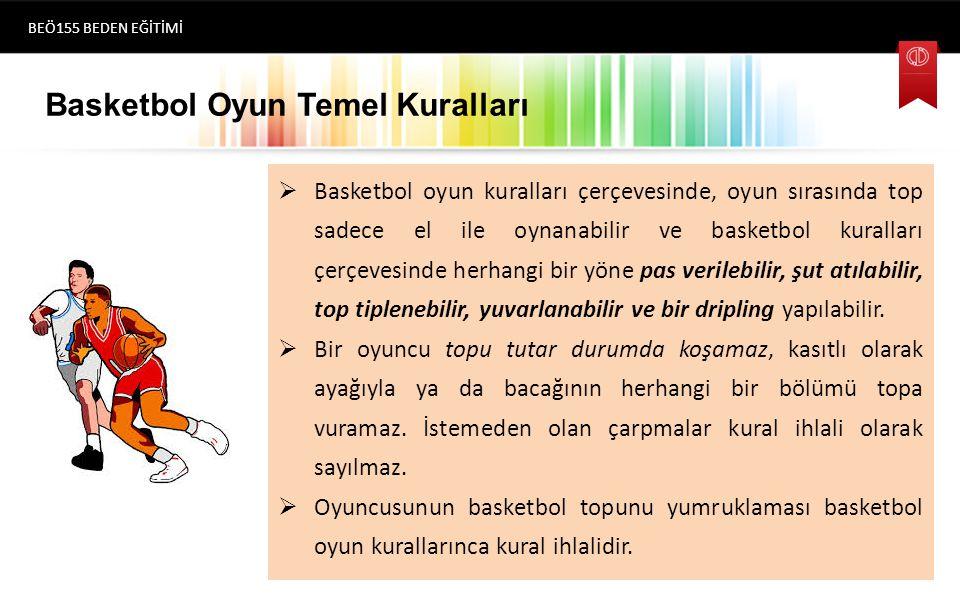 Basketbol Oyun Temel Kuralları  Basketbol oyun kuralları çerçevesinde, oyun sırasında top sadece el ile oynanabilir ve basketbol kuralları çerçevesinde herhangi bir yöne pas verilebilir, şut atılabilir, top tiplenebilir, yuvarlanabilir ve bir dripling yapılabilir.