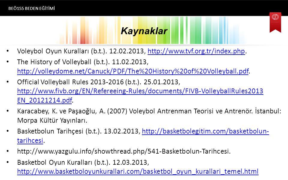 Kaynaklar Voleybol Oyun Kuralları (b.t.).