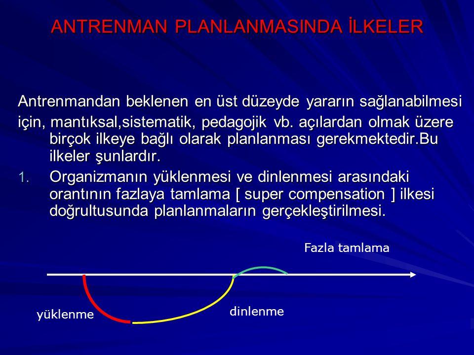 ANTRENMAN PLANLANMASINDA İLKELER Antrenmandan beklenen en üst düzeyde yararın sağlanabilmesi için, mantıksal,sistematik, pedagojik vb. açılardan olmak