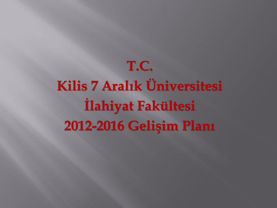 T.C. Kilis 7 Aralık Üniversitesi İlahiyat Fakültesi 2012-2016 Gelişim Planı