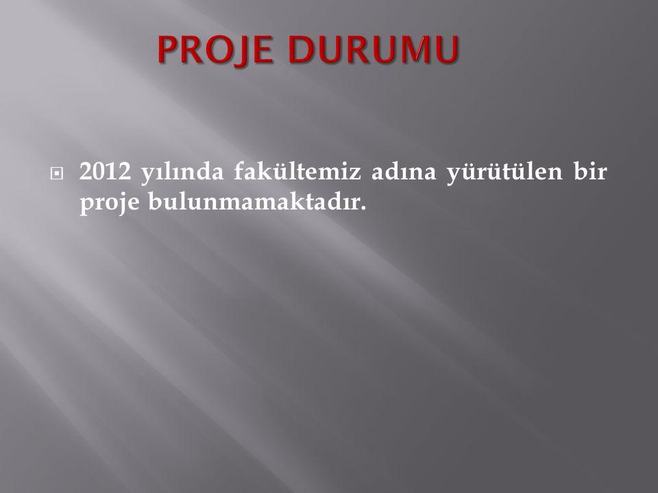  2012 yılında fakültemiz adına yürütülen bir proje bulunmamaktadır.