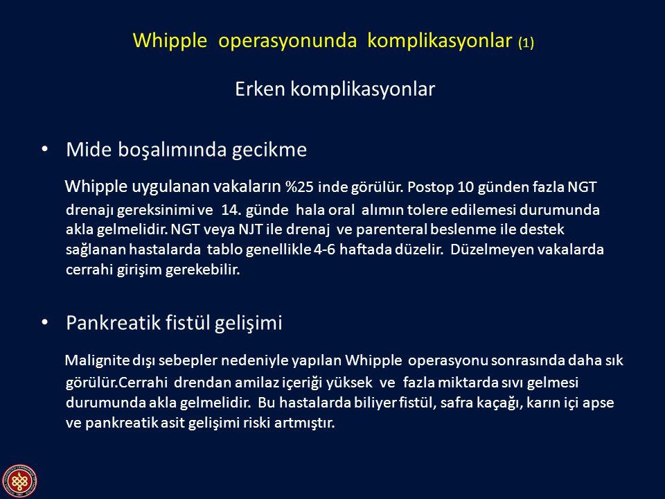 Mide boşalımında gecikme Whipple uygulanan vakaların %25 inde görülür. Postop 10 günden fazla NGT drenajı gereksinimi ve 14. günde hala oral alımın to