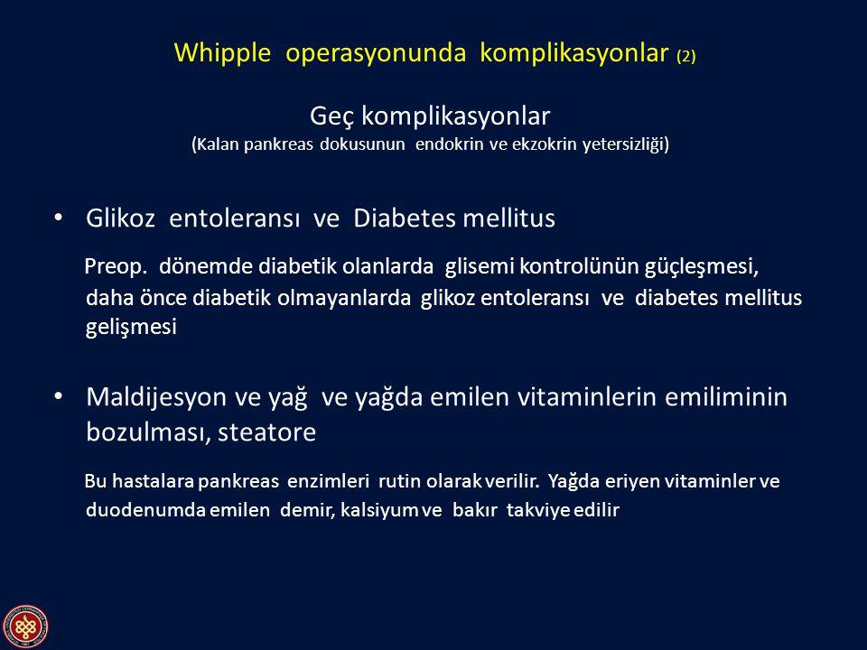 Glikoz entoleransı ve Diabetes mellitus Preop. dönemde diabetik olanlarda glisemi kontrolünün güçleşmesi, daha önce diabetik olmayanlarda glikoz entol