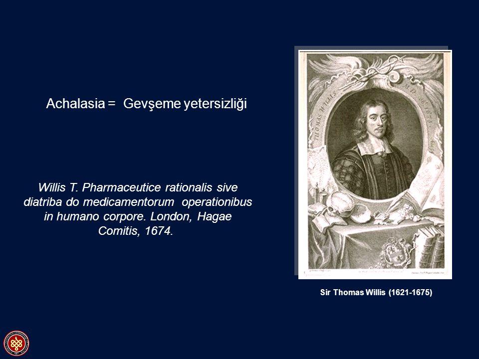 Sir Thomas Willis (1621-1675) Willis T. Pharmaceutice rationalis sive diatriba do medicamentorum operationibus in humano corpore. London, Hagae Comiti