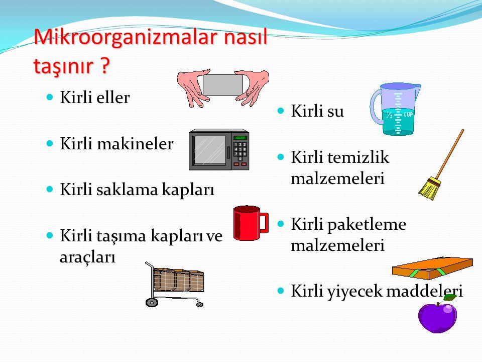 Mikroorganizmalar nasıl taşınır ? Kirli eller Kirli makineler Kirli saklama kapları Kirli taşıma kapları ve araçları Kirli su Kirli temizlik malzemele