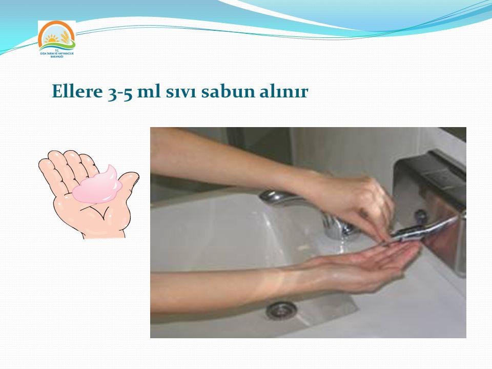 Ellere 3-5 ml sıvı sabun alınır