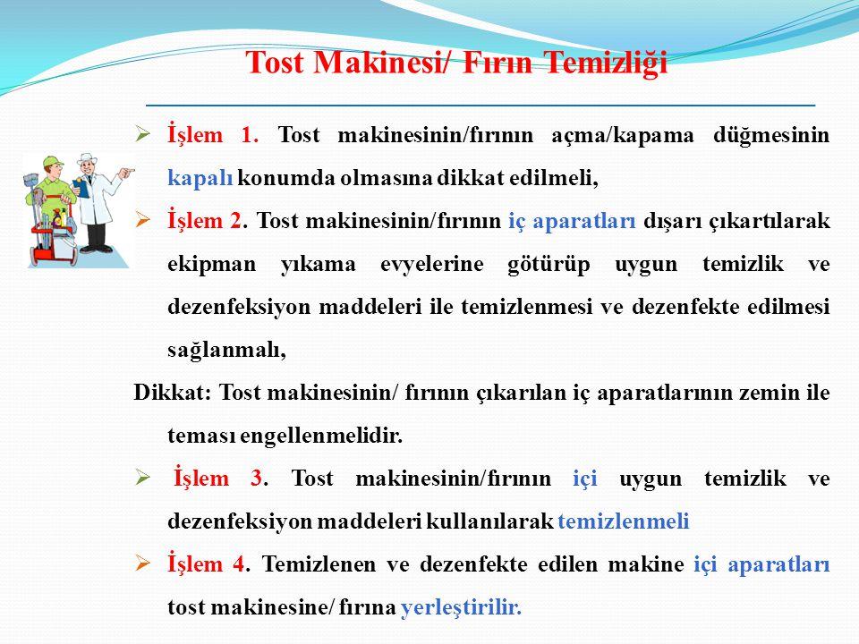 Tost Makinesi/ Fırın Temizliği  İşlem 1. Tost makinesinin/fırının açma/kapama düğmesinin kapalı konumda olmasına dikkat edilmeli,  İşlem 2. Tost mak