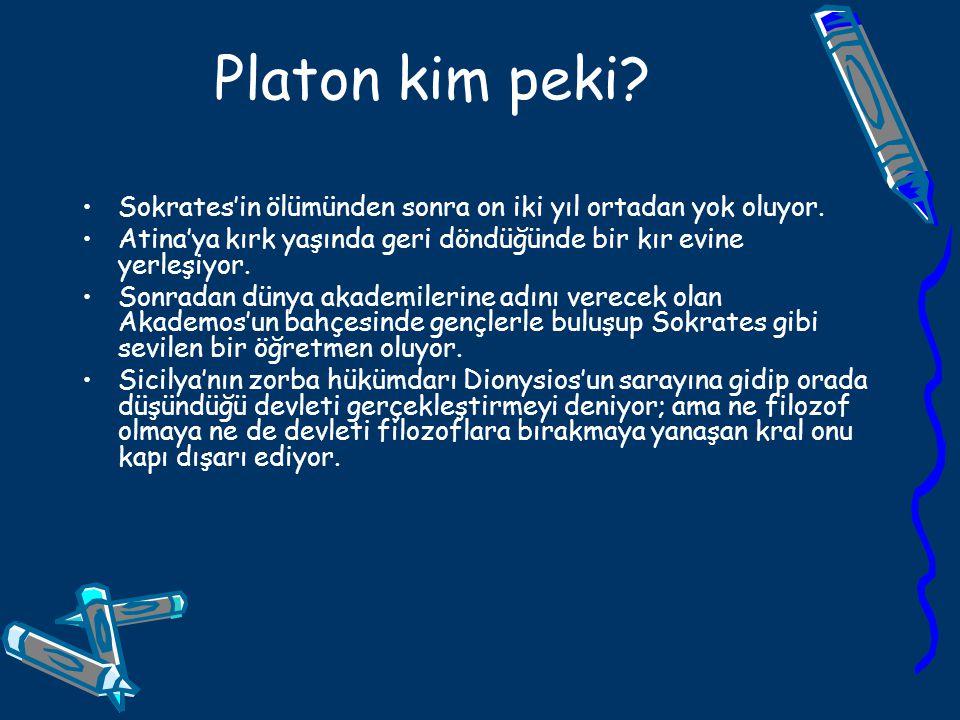 Platon kim peki? Sokrates'in ölümünden sonra on iki yıl ortadan yok oluyor. Atina'ya kırk yaşında geri döndüğünde bir kır evine yerleşiyor. Sonradan d