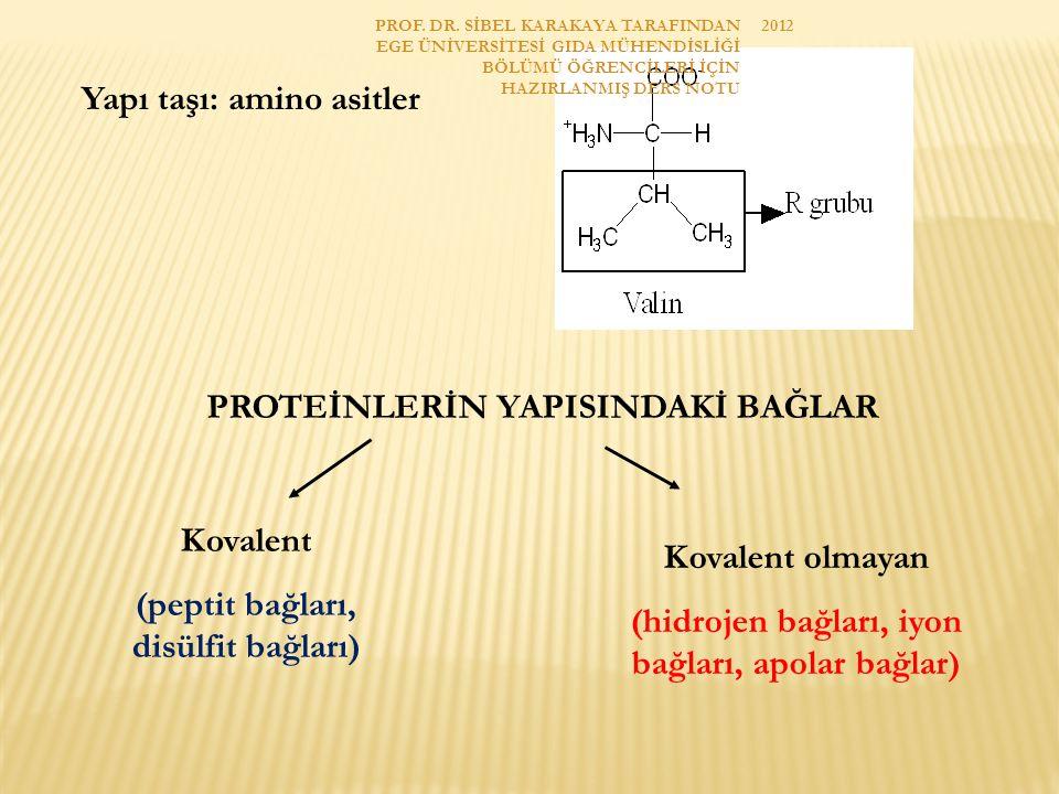PEPTİT BAĞLARI Bir amino asidin karboksil grubu ile amino grubu arasında oluşan C-N bağlarıdır.