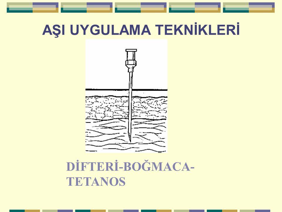 AŞI UYGULAMA TEKNİKLERİ DİFTERİ-BOĞMACA- TETANOS