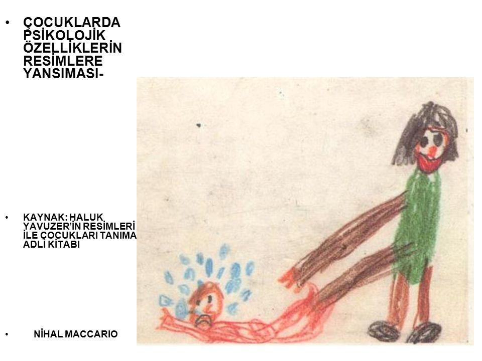 Kız:7 yaş 8 ay Resminde kıskandığı ağabeyini kendisinden daha küçük çizerek ağabeyi ile rekabetine ilişkin duygularını dile getirmeye çalışmaktadır