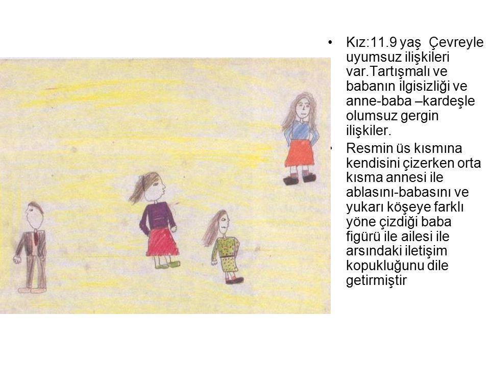 Kız:11.9 yaş Çevreyle uyumsuz ilişkileri var.Tartışmalı ve babanın ilgisizliği ve anne-baba –kardeşle olumsuz gergin ilişkiler. Resmin üs kısmına kend