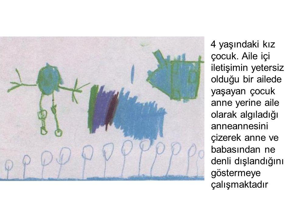 4 yaşındaki kız çocuk. Aile içi iletişimin yetersiz olduğu bir ailede yaşayan çocuk anne yerine aile olarak algıladığı anneannesini çizerek anne ve ba