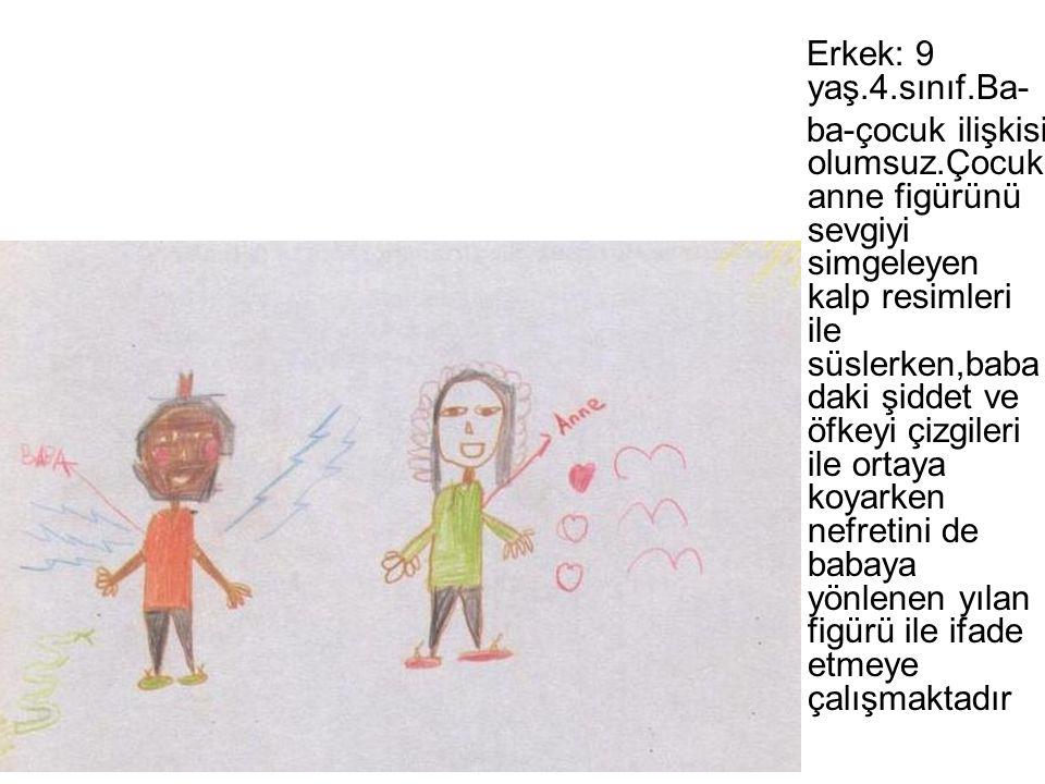 Erkek: 9 yaş.4.sınıf.Ba- ba-çocuk ilişkisi olumsuz.Çocuk anne figürünü sevgiyi simgeleyen kalp resimleri ile süslerken,baba daki şiddet ve öfkeyi çizg