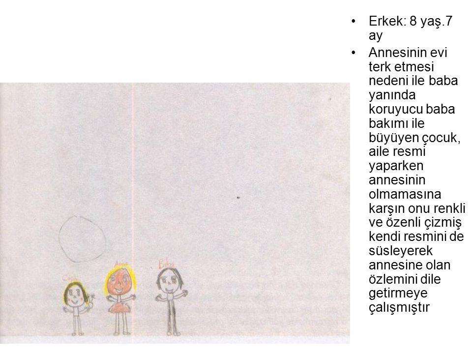 Erkek: 8 yaş.7 ay Annesinin evi terk etmesi nedeni ile baba yanında koruyucu baba bakımı ile büyüyen çocuk, aile resmi yaparken annesinin olmamasına k