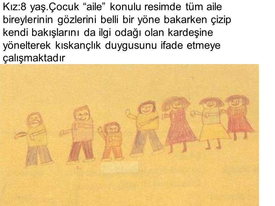 """Kız:8 yaş.Çocuk """"aile"""" konulu resimde tüm aile bireylerinin gözlerini belli bir yöne bakarken çizip kendi bakışlarını da ilgi odağı olan kardeşine yön"""