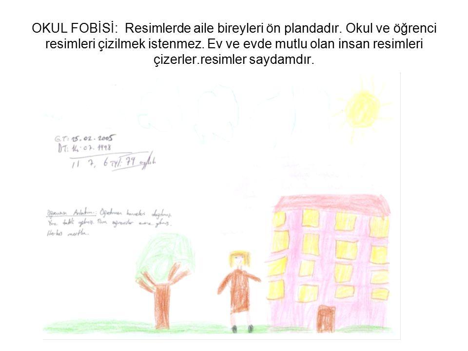OKUL FOBİSİ: Resimlerde aile bireyleri ön plandadır. Okul ve öğrenci resimleri çizilmek istenmez. Ev ve evde mutlu olan insan resimleri çizerler.resim