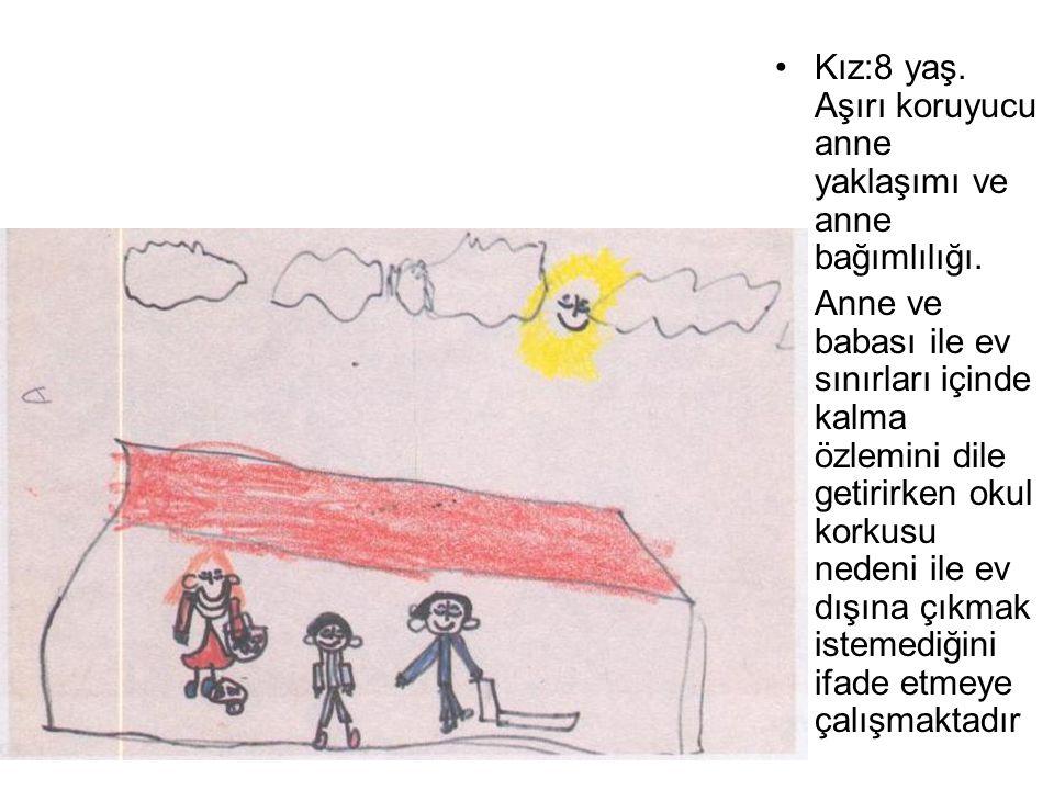 Kız:8 yaş. Aşırı koruyucu anne yaklaşımı ve anne bağımlılığı. Anne ve babası ile ev sınırları içinde kalma özlemini dile getirirken okul korkusu neden