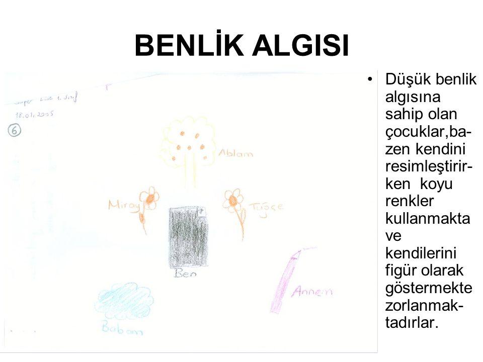 BENLİK ALGISI Düşük benlik algısına sahip olan çocuklar,ba- zen kendini resimleştirir- ken koyu renkler kullanmakta ve kendilerini figür olarak göster
