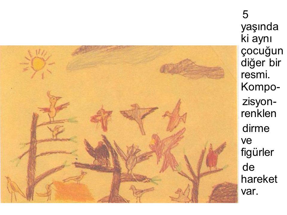 5 yaşında ki aynı çocuğun diğer bir resmi. Kompo- zisyon- renklen dirme ve figürler de hareket var.