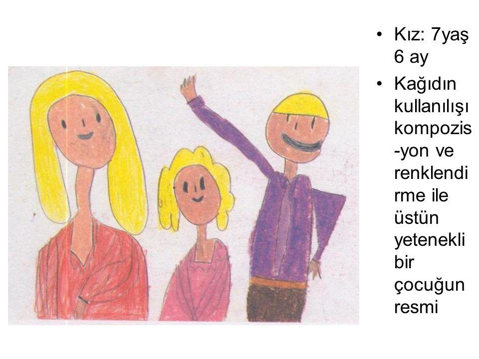Kız: 7yaş 6 ay Kağıdın kullanılışı kompozis -yon ve renklendi rme ile üstün yetenekli bir çocuğun resmi
