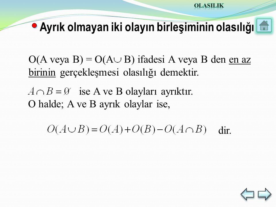 Ayrık olmayan iki olayın birleşiminin olasılığı ise A ve B olayları ayrıktır.