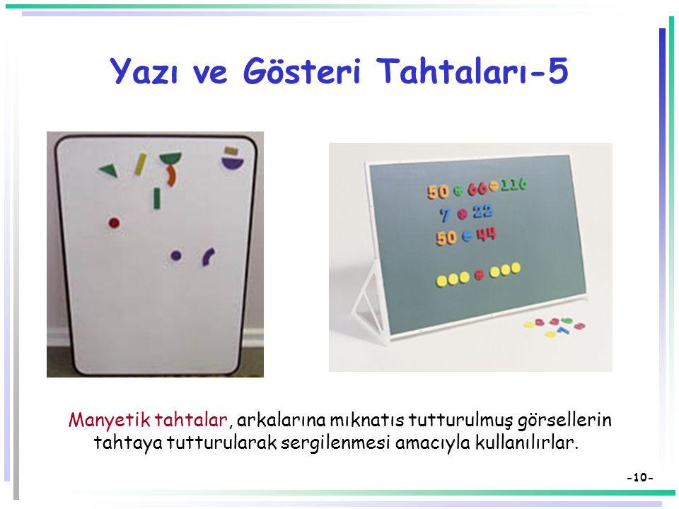 -9- Yazı ve Gösteri Tahtaları-4  Pazen tahtalar özellikle okul öncesi ve dil eğitiminde yaygın kullanım alanı bulmaktadırlar.